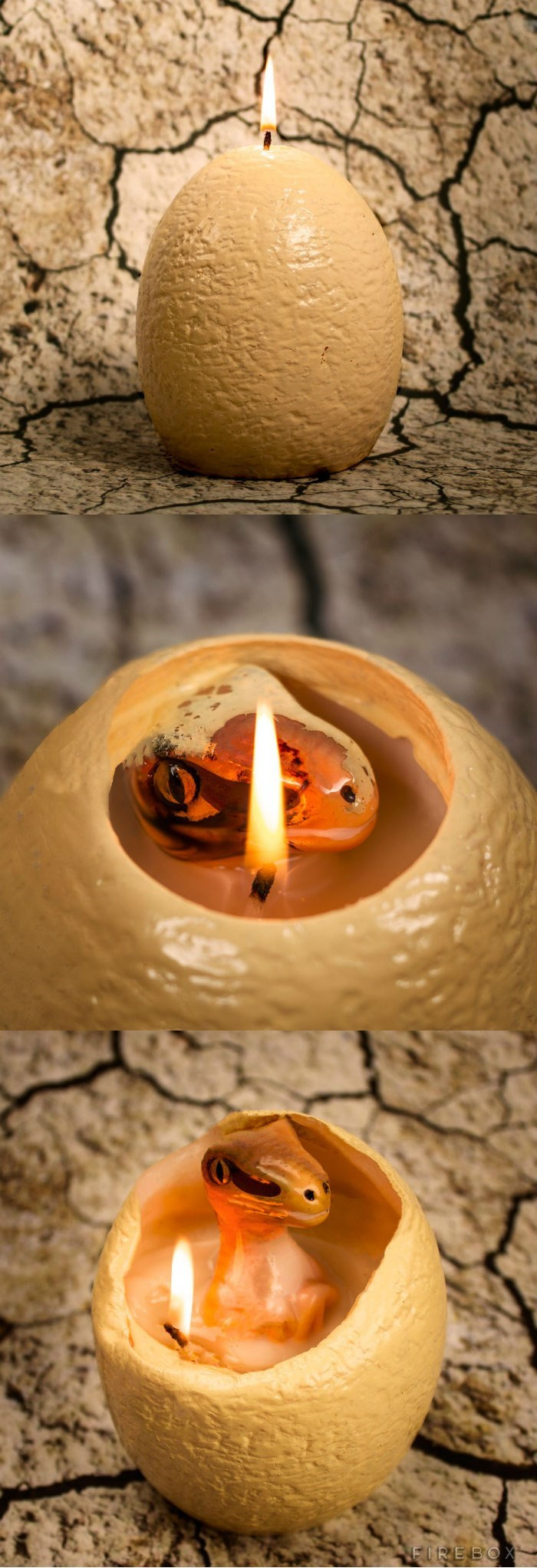 cute dinosaur candle that hatches while you burn it