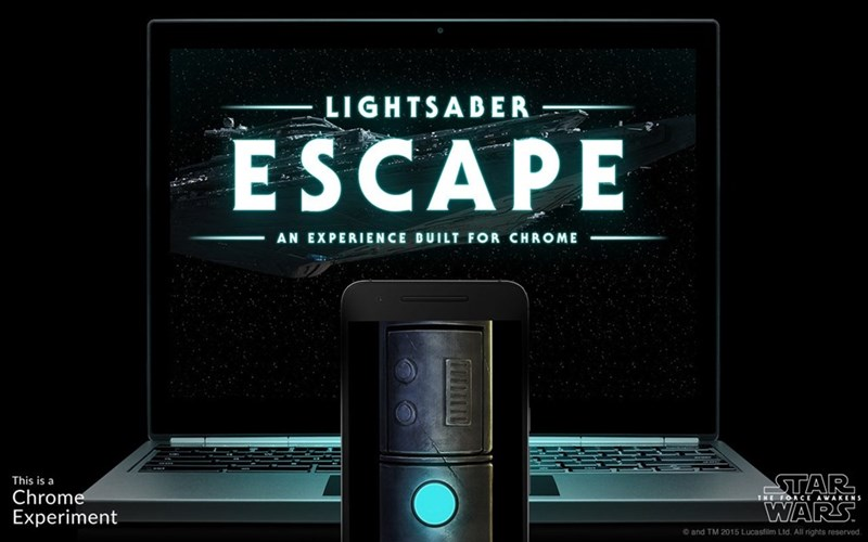 lightsaber escape game from google turns your phone into a lightsaber