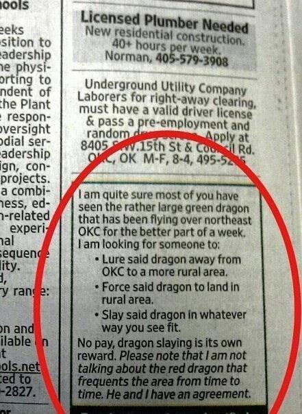 dragon slayer classified ad