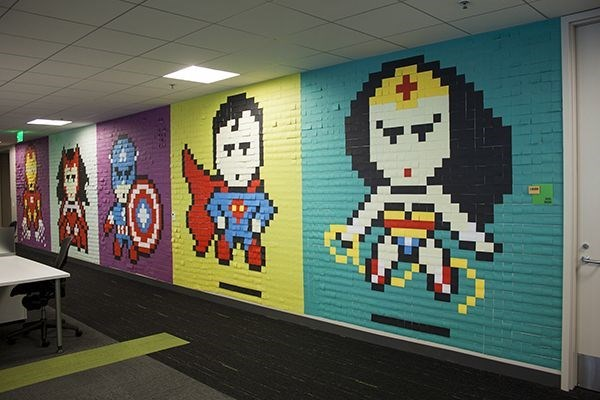 avengers superman wonder woman This Wall of Post-Its is Super
