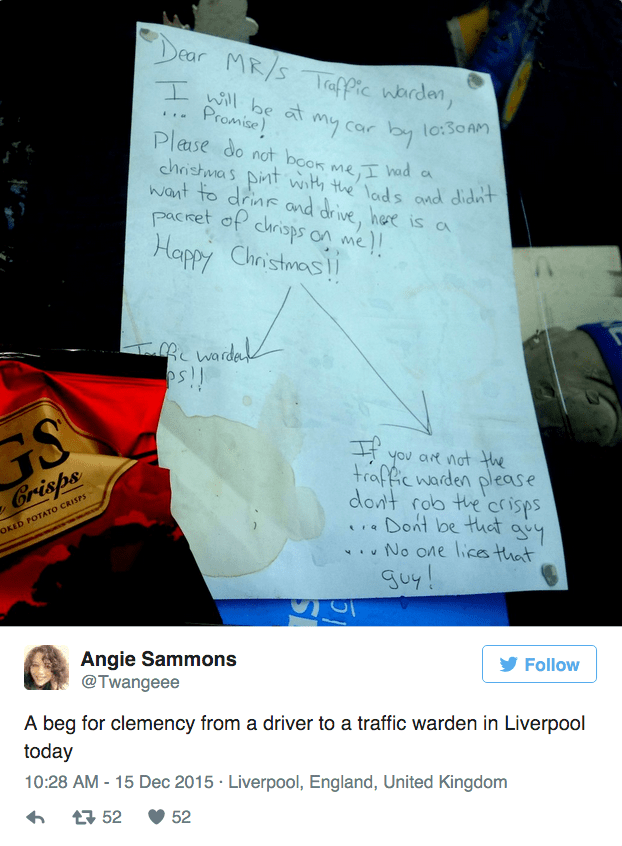 funny social media win man leaves note and bribe to avoid parking ticket