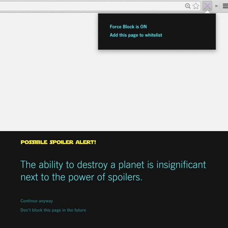 Trying to Stay Spoiler Free? Get This Star Wars Force Block Spoiler Blocker Chrome Extension