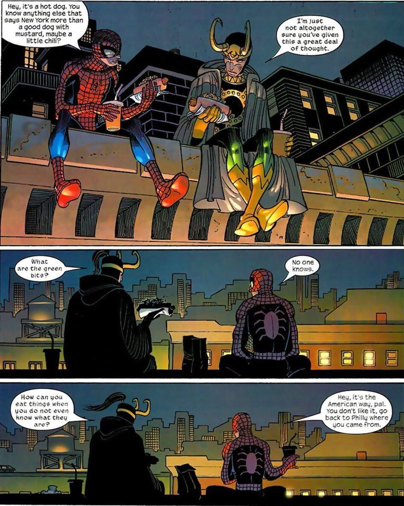 comics,hot dog,loki,Spider-Man