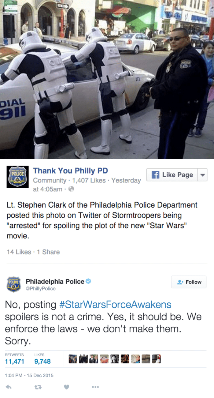 funny social media image Philadelphia Police have a policy on Star Wars the Force Awakens spoilers