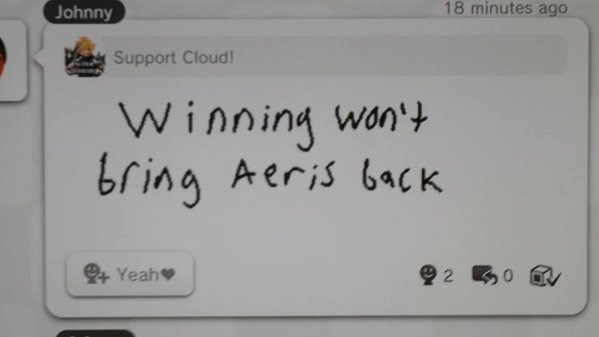 Miiverse,super smash bros,cloud strife,aeris,nintendo,final fantasy VII