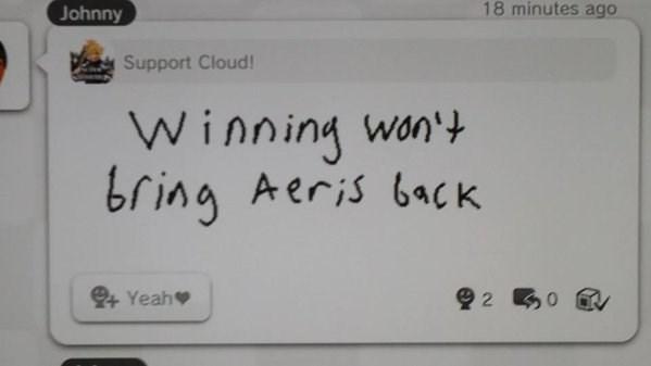 Miiverse super smash bros cloud strife aeris nintendo final fantasy VII - 8596495616