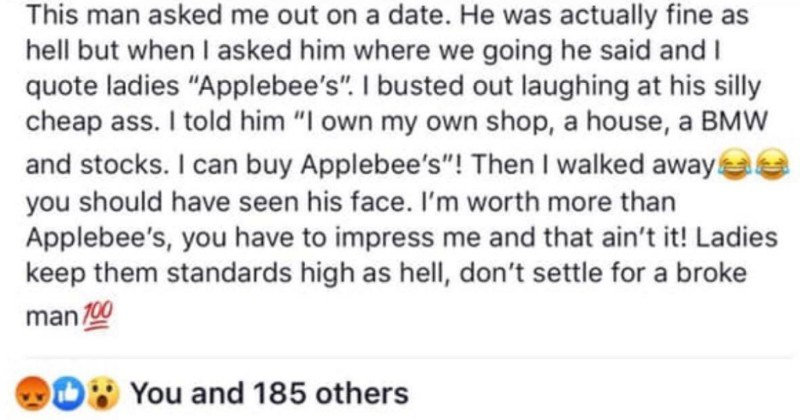 reddit story, call out story, applebee's date,