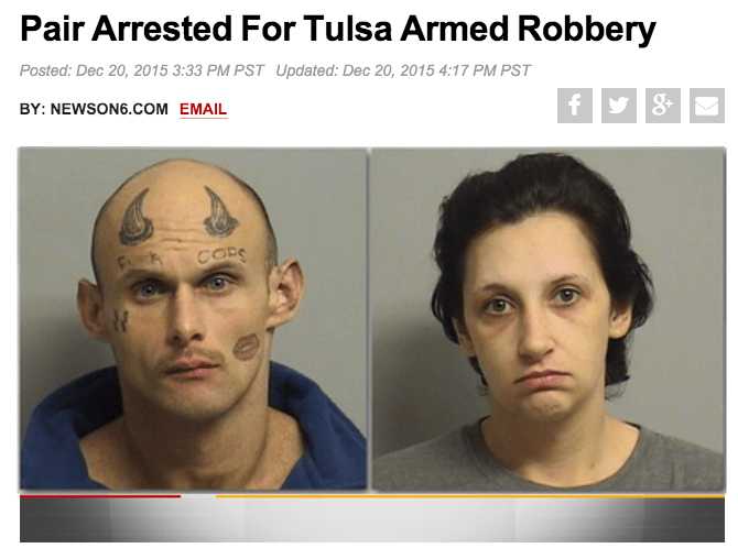funny fail image man arrested with face tattoos that say Fck Cops