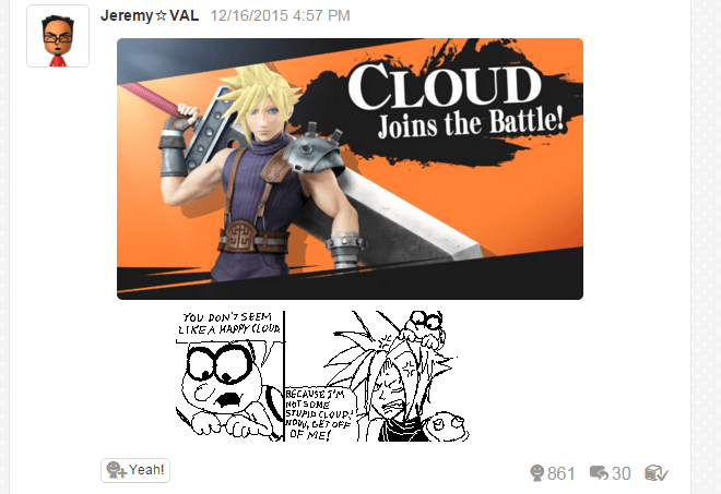 Miiverse,super smash bros,cloud