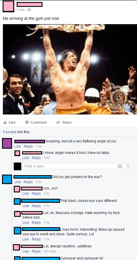 gym movies facebook troll rocky