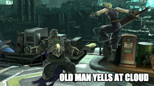 video game memes super smash bros old man yells at cloud