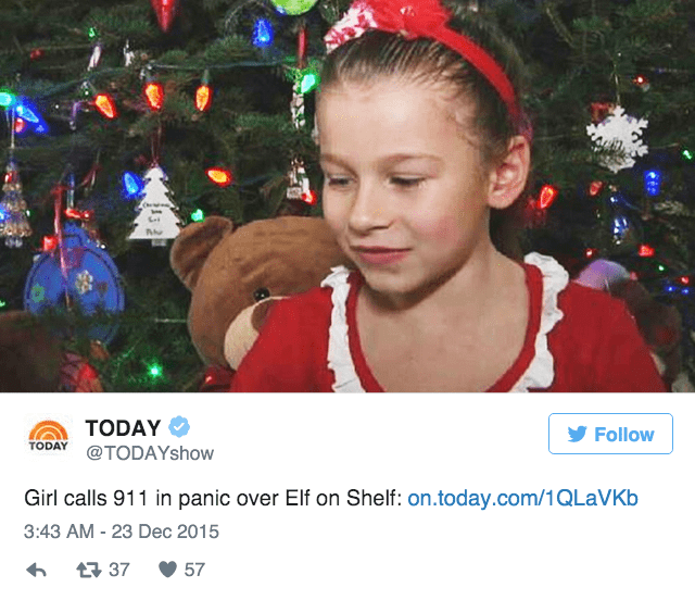 christmas news little girl touches elf on a shelf and fears she ruined christmas so she calls 911