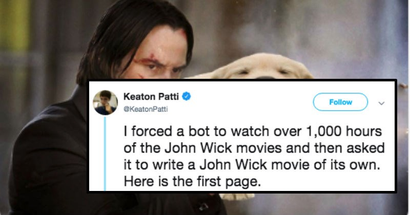 person tweeting john wick scripts written by a bot