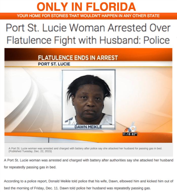 funny fail image florida woman attacks husband over farting