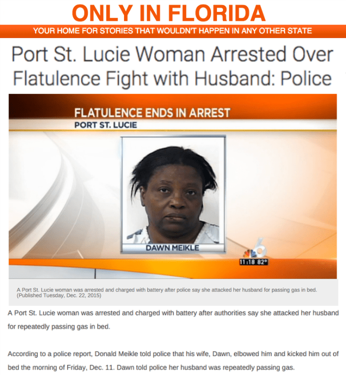 funny fail image florida woman attacks husband over farting