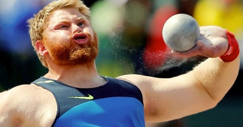 pic of athlete making a funny face while throwing a ball