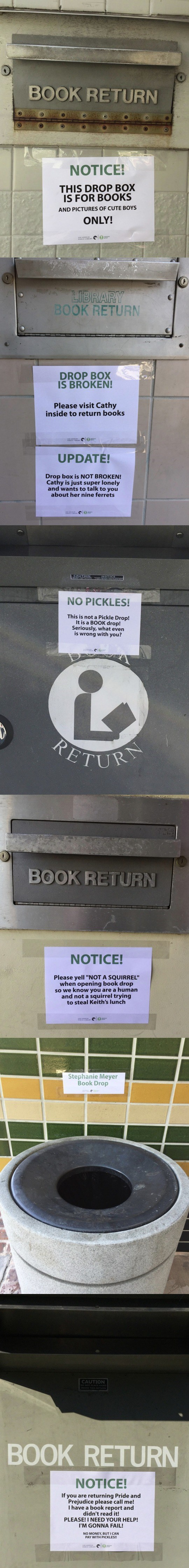 funny library book drop