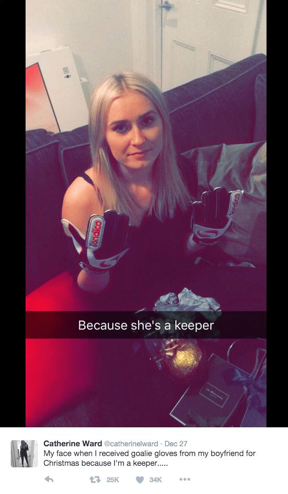 funny dating image soccer boyrfriend gives girlfriend goalie gloves for christmas