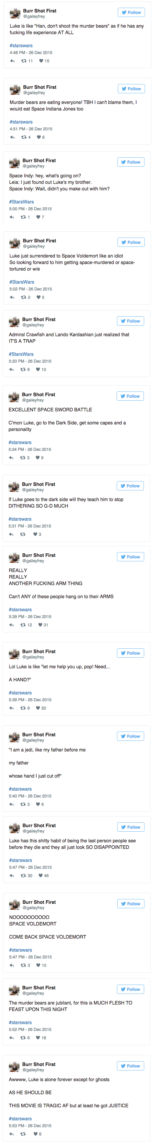 twitter post from person watching star wars first time