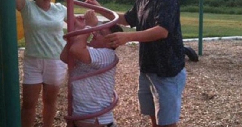 person stuck inside kids playground construction
