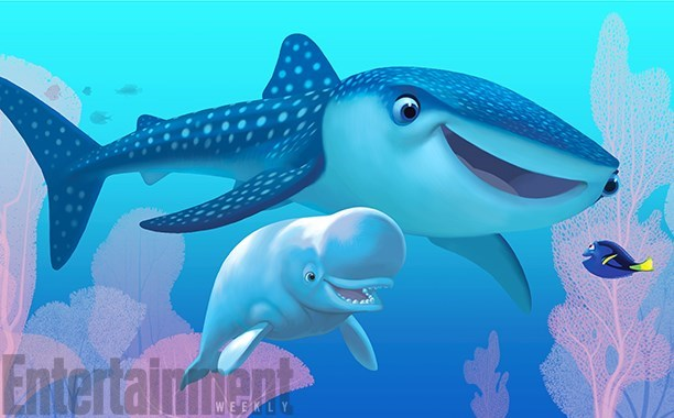 new finding dory characters shark and beluga whale
