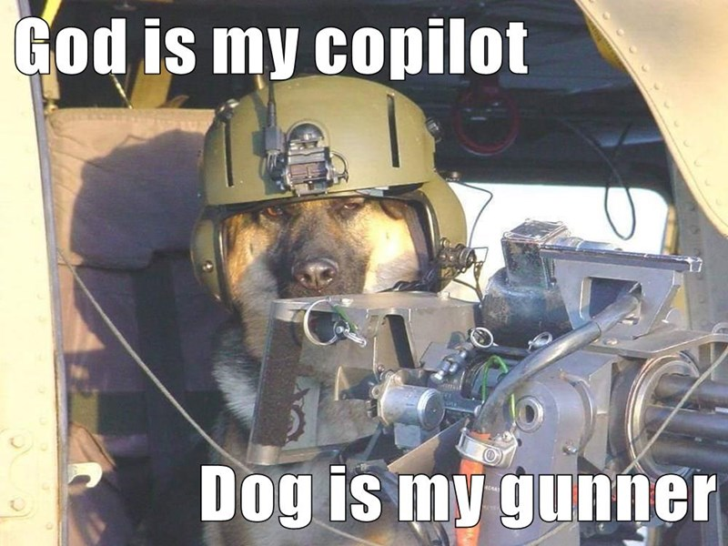 God is my copilot  Dog is my gunner