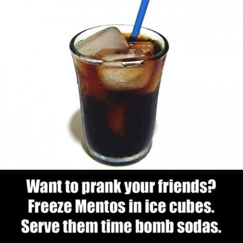 funny prank mentos ice cubes