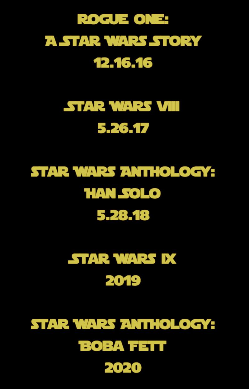 star wars viii rogue one ix han solo boba fett movie release date
