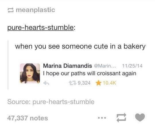 Text - meanplastic pure-hearts-stumble: when you see someone cute in a bakery Marina Diamandis @Marin... 11/25/14 I hope our paths will croissant again 10.4K 9,324 Source: pure-hearts-stumble 47,337 notes