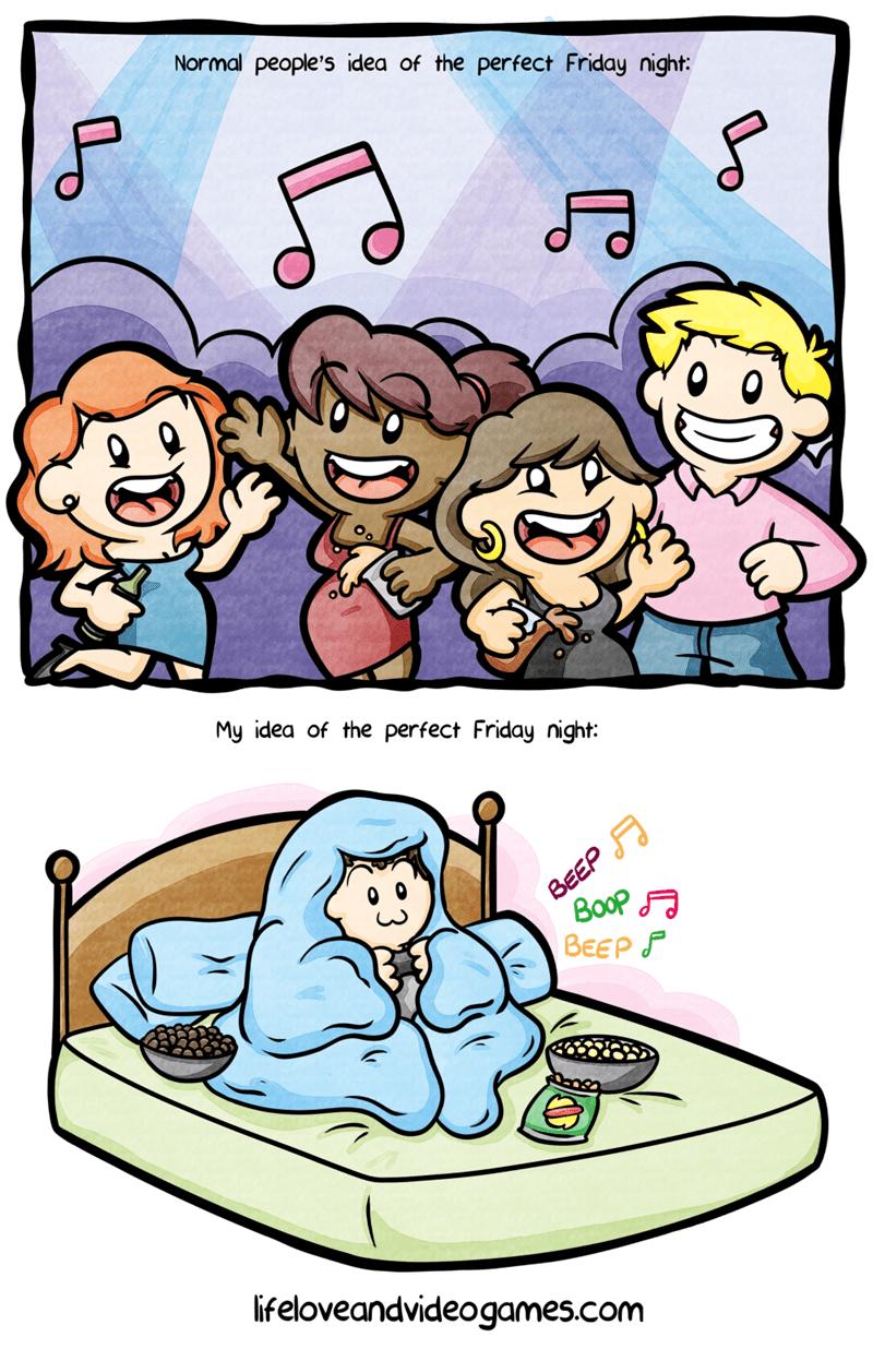 web comics introvert friday night