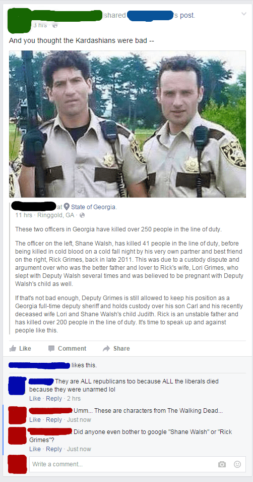 walking dead cop shooting on facebook