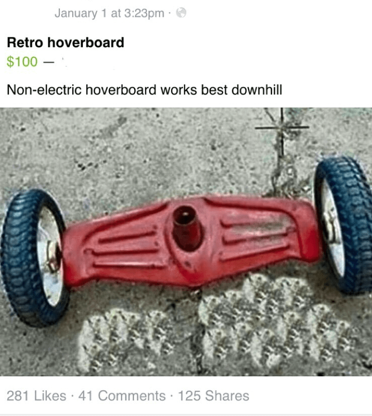 retro hoverboard facebook for sale