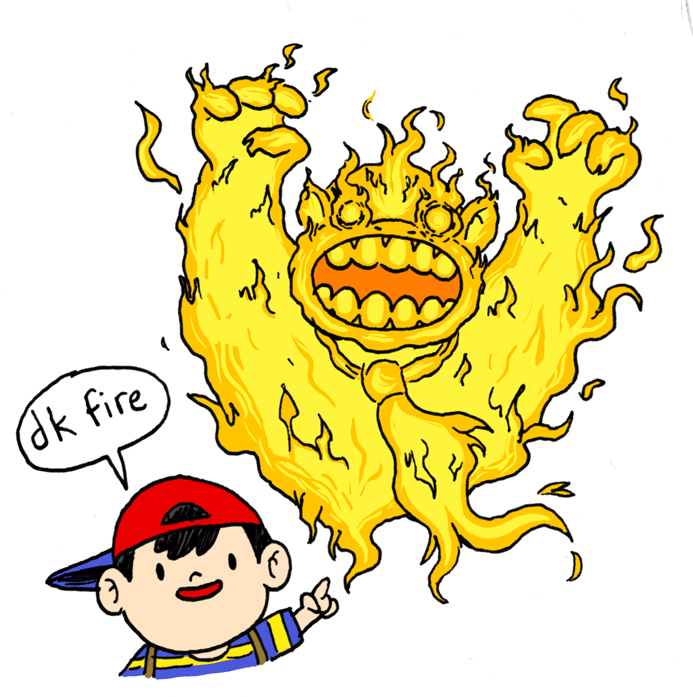 ness,pk fire,earthbound,smash bros
