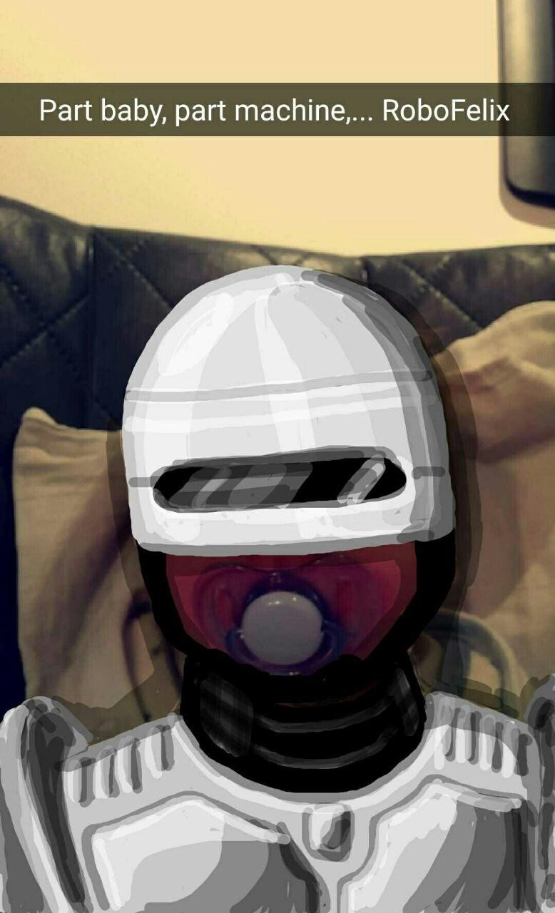 Helmet - Part baby, part machine,... Robo Felix