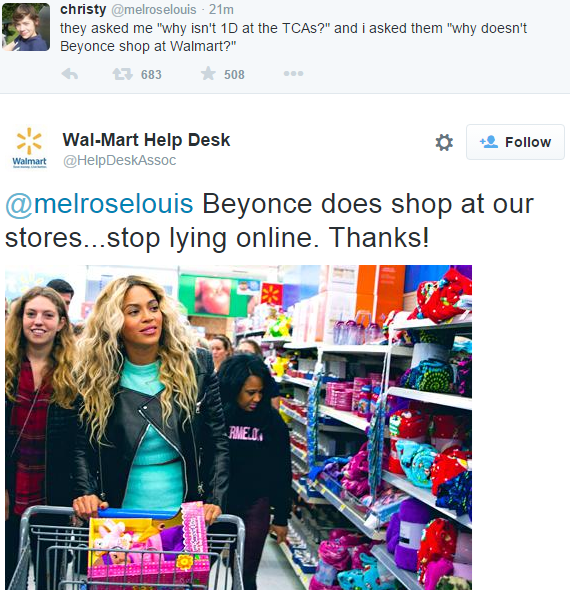 fake walmart twitter beyonce shops at walmart