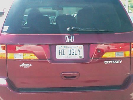 hi ugly license plate