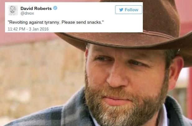 "Facial hair - David Roberts Follow @drvox ""Revolting against tyranny. Please send snacks."" 11:42 PM - 3 Jan 2016"
