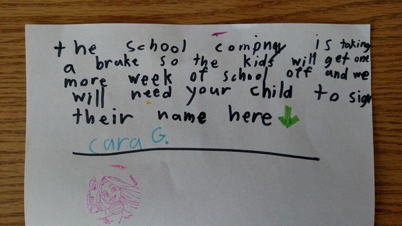 funny fail image little kid tries to forge school letter
