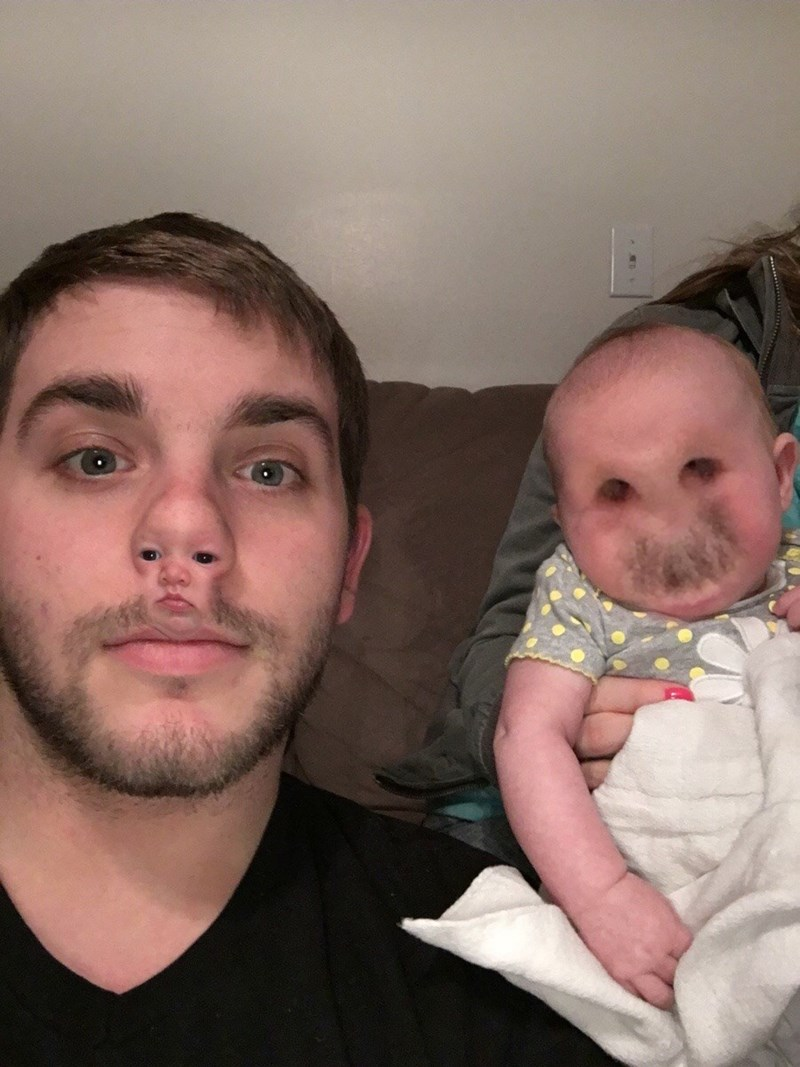 funny parenting image father daughter face swap fail