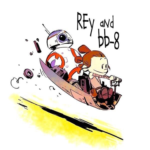 web comics calving and hobbes star wars rey bb8