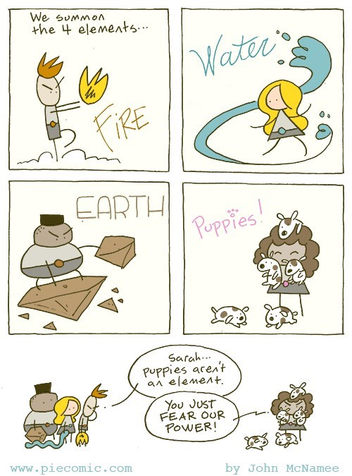 cute web comic of puppies summoned as an element
