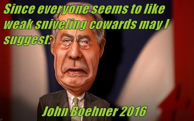 Since everyone seems to like weak sniveling cowards may I suggest:                    John Boehner 2016