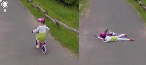girl falls on google street view