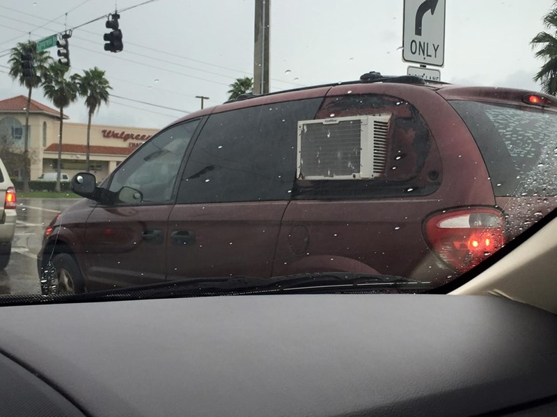 funny fail image there i fixed it car with extra air conditioner