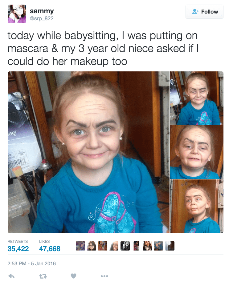 funny parenting image make up on toddler transformed her into old lady