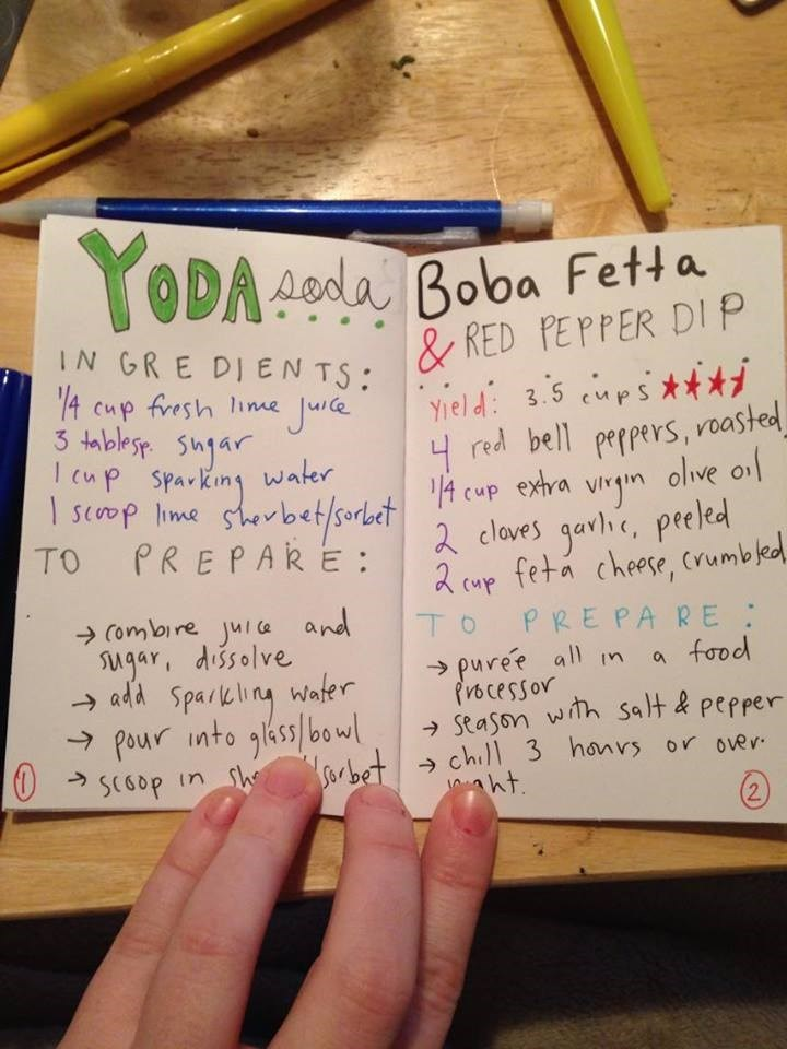 star wars cook book - Handwriting - T ODA Aoda Boba Fetta & RED PEPPER DI P Yield3.5 ps* red bell peppers, roasted IN GRE DIEN TS: 14 cup fresh lime Jura 3 tmblesr jar cup sparking water scoop lme shebet/sorl.t cup exhra vm olive ol PREPARE: 2 cloves garhe, peeled R cmp feta cheese, vumbled To PREPA RE puree all m a faod frocessor Stason with Salt & pepper chill 3 honvs or over ht TO (4 Combire jul a and gar, dissolve add Sparkling wafer Pour into ass/bowl SCGOP in sh 2
