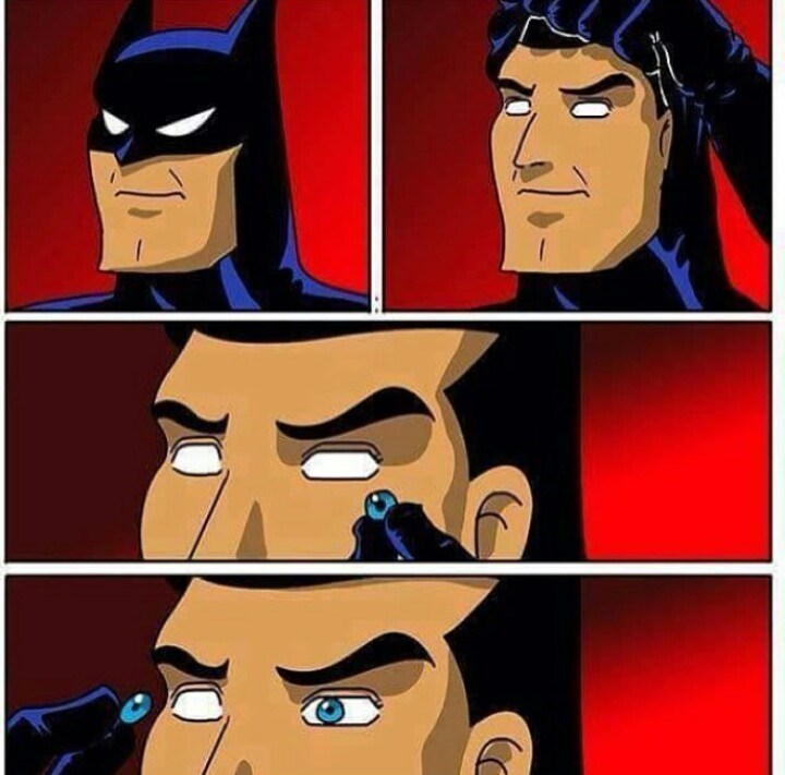 funny batman putting eyes back in