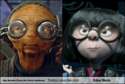 Maz Kanata (from the Force Awakens) Totally Looks Like Edna Mode