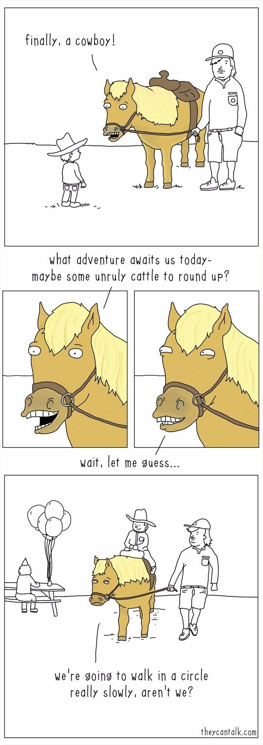 web comics horse at birthday party