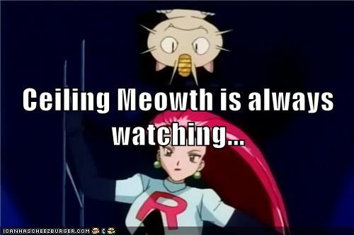 video games geek Meowth Team Rocket ceiling cat - 8603096576